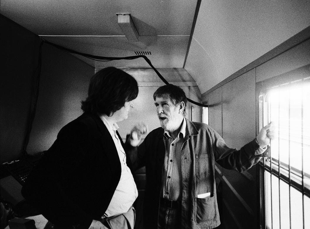 Gianni Sassi e John Cage, foto di F. Simion