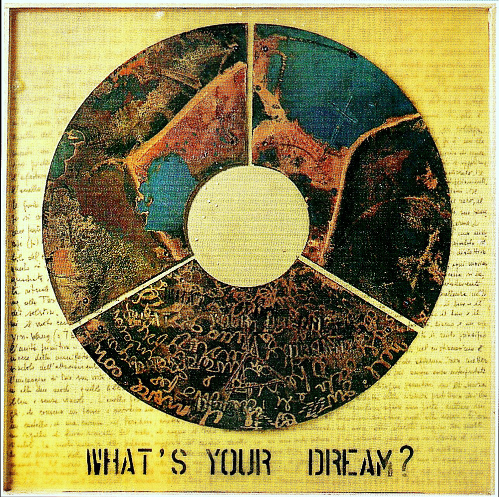 What's your dream? - 2001, Tecniche miste su ferro , cera e tavola 120 x 120 cm.