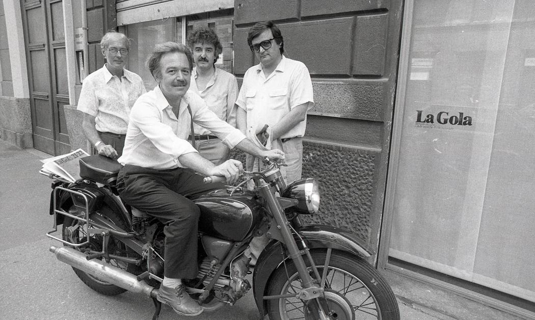 Da sinistra a destra Juan Hidalgo, Nanni Balestrini, Gino Di Maggio e Gianni Sassi, Archivio F. Garghetti