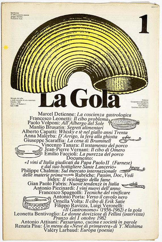 Copertina mensile La Gola, grafica di Gianni Sassi